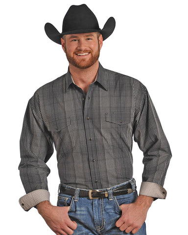 Mens Plaid Poplin Western Shirt