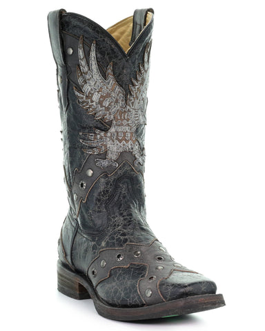 Mens Eagle Overlay Boots