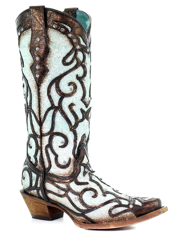 Women's Glitter & Crystal Inlay Boots - Blue