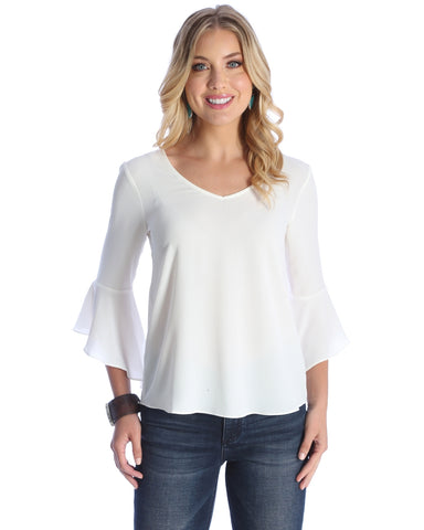 Womens Strappy 3/4 Bell Sleeve Top - White