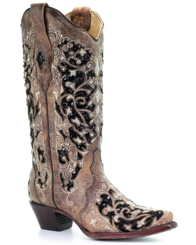 Womens Inlay Floral Embroidered Boots
