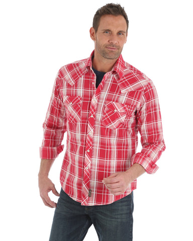 Mens Retro Plaid Long Sleeve Western Shirt