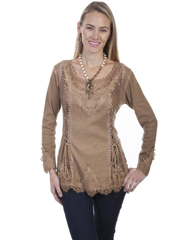 Women's Silky Lace Front Long Sleeve Blouse