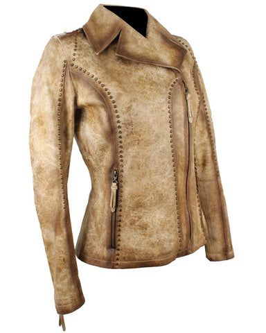 Women's USA Flag Lambskin Jacket - Camel