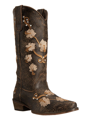 Womens Floral Embroidered Boots