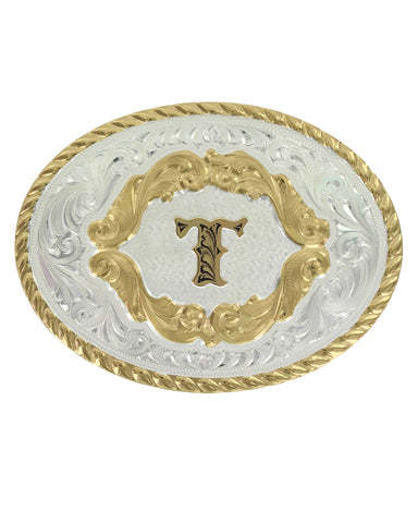 Engraved Initial T Small Oval Buckle