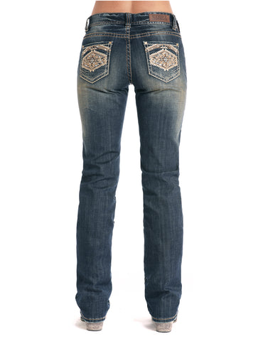 Women's Aztec Embroidered Boyfriend Fit Jeans