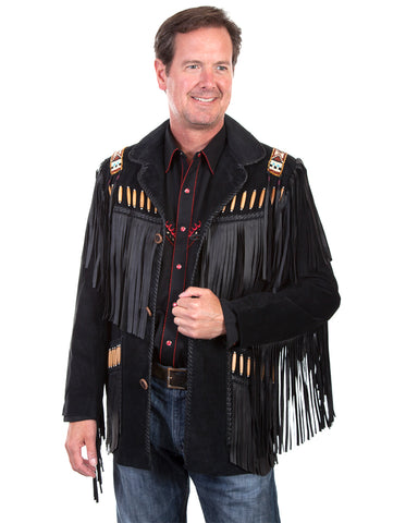 Men's Fringe Leather Jacket - Black