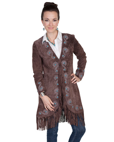 Women's Boar Suede Embroidered Jacket - Expresso