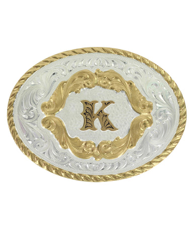 Engraved Initial K Small Oval Buckle