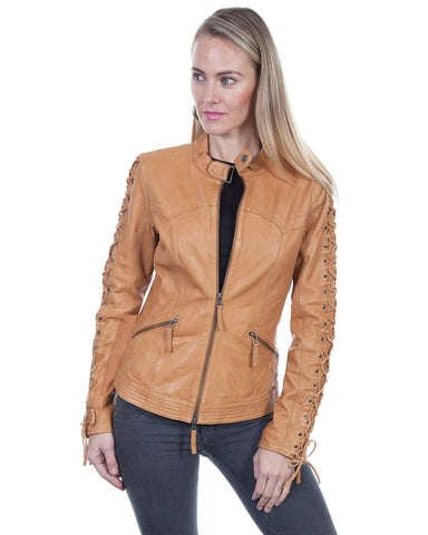 Women's Lambskin Laced Sleeves Jacket