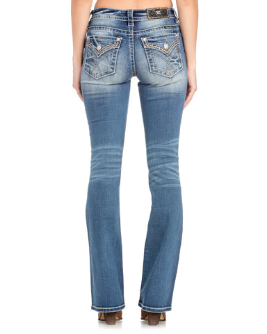 Women's Simple Stitch Boot Cut Jeans