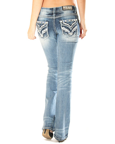 Women's Stitch Faux Flap Jeans