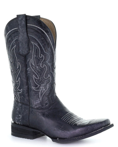 Men's Crackled Leather Western Boots - Black