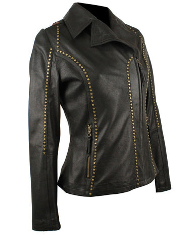 Women's USA Flag Lambskin Jacket - Black