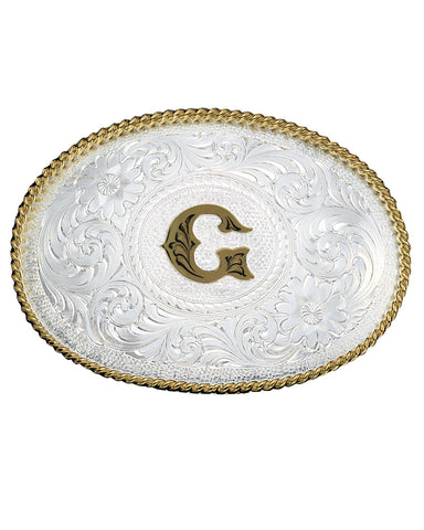 Engraved Initial G Medium Oval Buckle