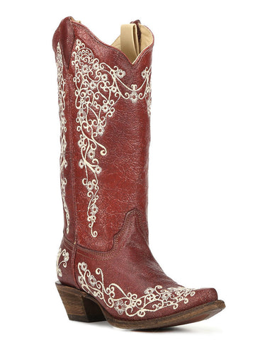 Women's Embroidered Boots - Red