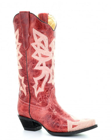Women's Red Embroidered Boots