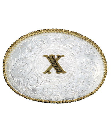 Engraved Initial X Medium Oval Buckle
