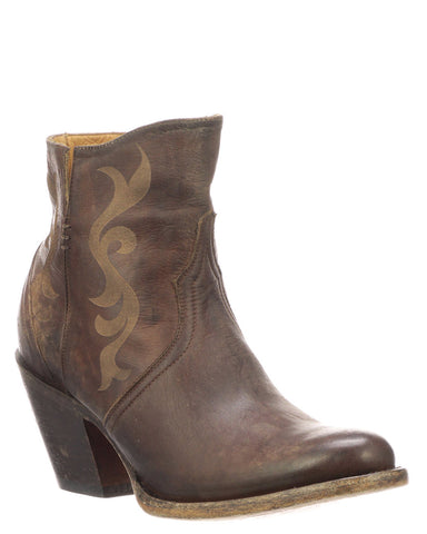 Women's Etched Short Boots - Brown