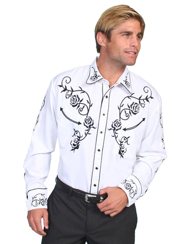 Mens Floral Embroidered Western Shirt