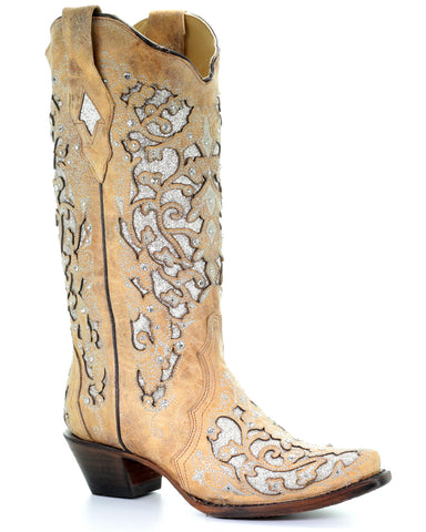 Womens Glitter and Crystals Boots - Beige