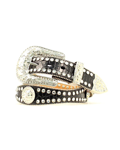 Womens Rhinestone Leather Belt - Black