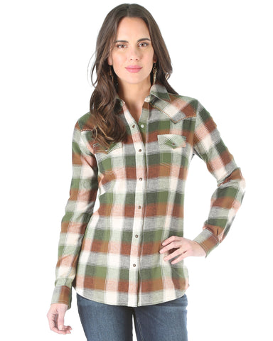 Womens One Point Plaid Snap Up Western Shirt
