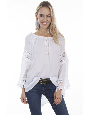 Womens Hi-Lo Scoop Neck Blouse
