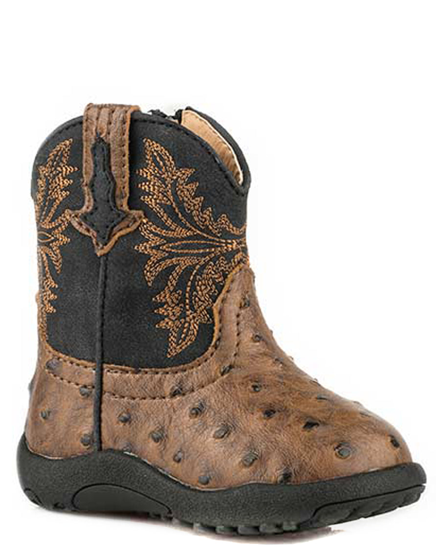 78950856fe1 Roper Infant's Cowbabies Cowboy Cool Ostrich Boots - Brown
