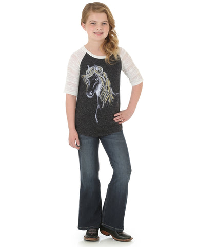 Girls 3/4 Sleeve Horse Graphic T-Shirt