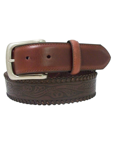 Mens Floral Embossed Leather Belt
