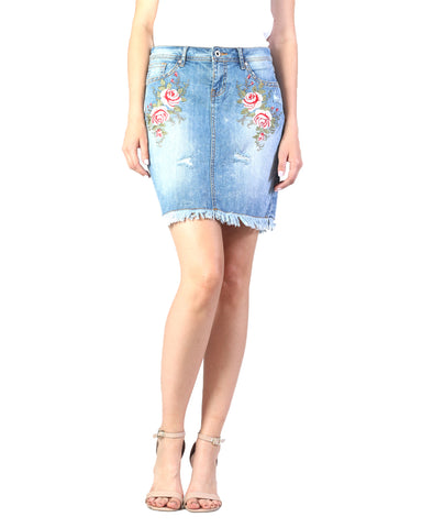 Women's Floral Embroidered Denim Skirt