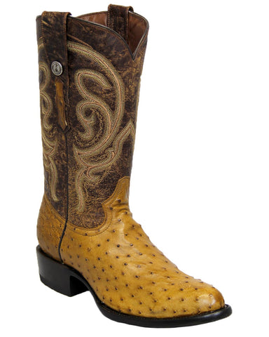 Mens Mad Dog Ostrich Boots - Antique Brandy