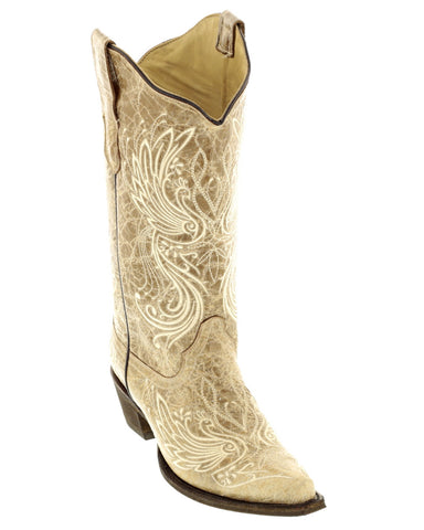 Women's Bone-Beige Embroidered Boots