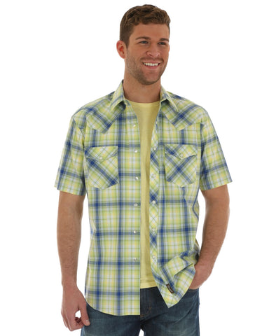 Men's Retro Plaid Short Sleeve Western Shirt - Green
