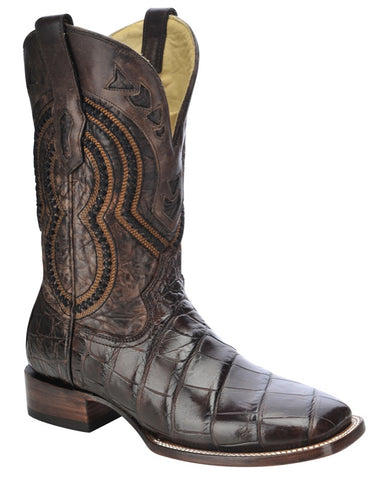 Men's Wide Square Toe Alligator Boots - Chocolate