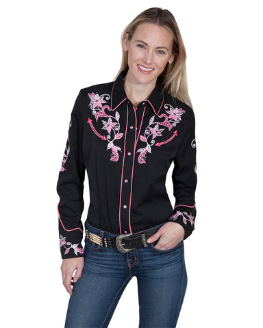 Women's Floral & Crystals Western Shirt