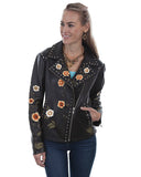 Women's Floral Embroidered Lambskin Motorcycle Jacket