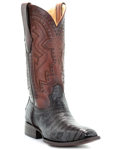 Mens Woven French Toe Caiman Boots