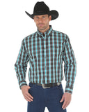 Mens Classic Plaid Long Sleeve Western Shirt