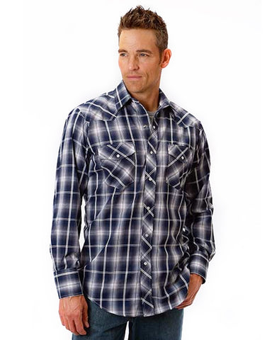 Mens Classic Long Sleeve Plaid Western Shirt - Navy