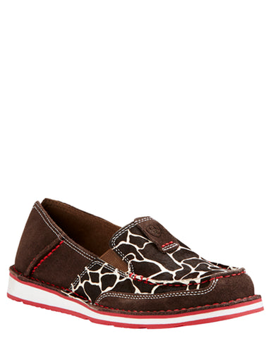 Womens Giraffe Print Suede Cruiser Shoes