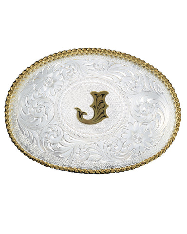 Engraved Initial J Medium Oval Buckle