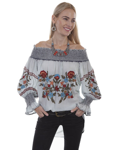 Womens Embroidered Tunic Peasant Blouse