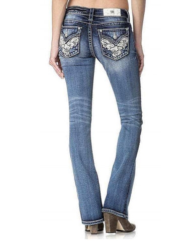 Women's Embellished Pocket Boot Cut Jeans
