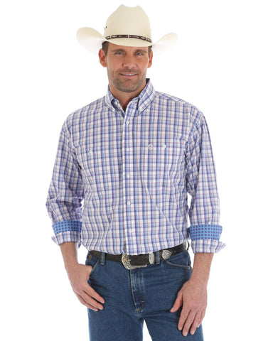 Mens George Strait Plaid Long Sleeve Western Shirt