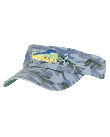 Guy Harvey's Bull Dolphin Visor - Blue Camo