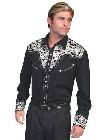 Mens Floral Embroidered Western Shirt - Silver