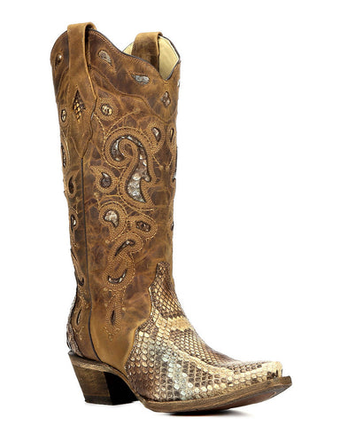 Women's Python Inlay Boots